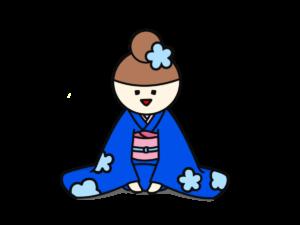青い着物の女性 正座