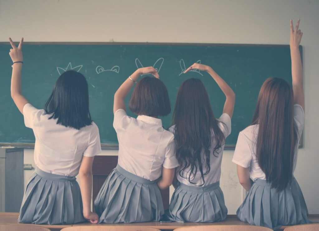 four-girls-wearing-school-uniform